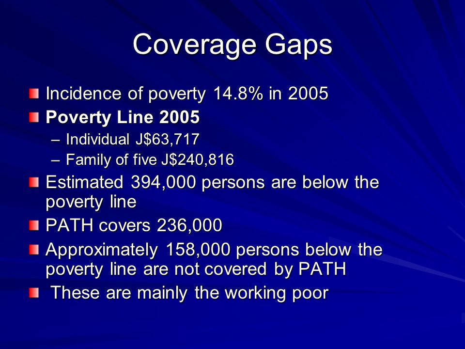 Coverage Gaps Incidence of poverty 14.8% in 2005 Poverty Line 2005 –Individual J$63,717 –Family of five J$240,816 Estimated 394,000 persons are below the poverty line PATH covers 236,000 Approximately 158,000 persons below the poverty line are not covered by PATH These are mainly the working poor These are mainly the working poor