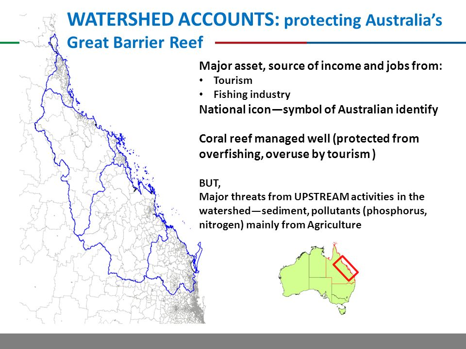 WATERSHED ACCOUNTS: protecting Australias Great Barrier Reef Major asset, source of income and jobs from: Tourism Fishing industry National iconsymbol