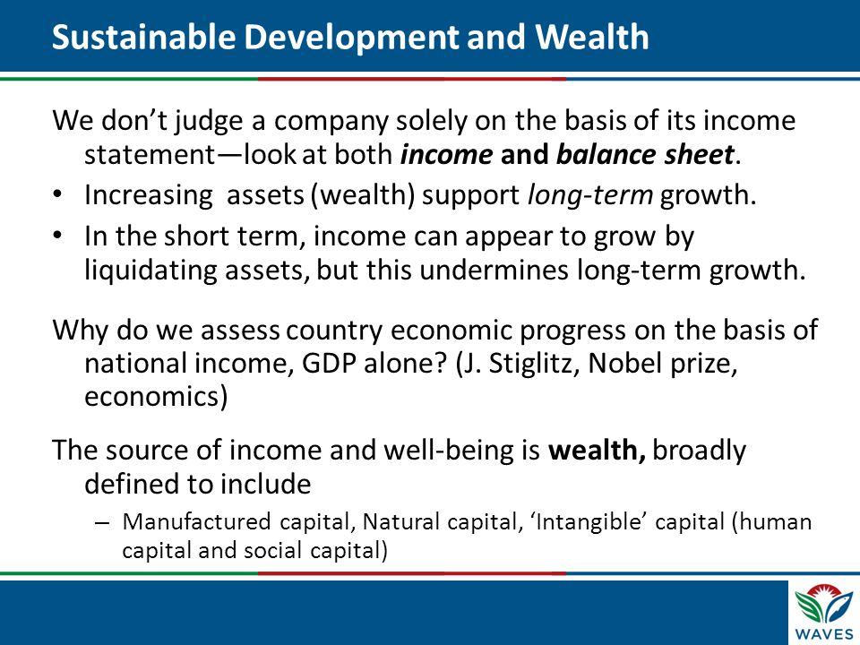 Click to edit Master title style Sustainable Development and Wealth We dont judge a company solely on the basis of its income statementlook at both in