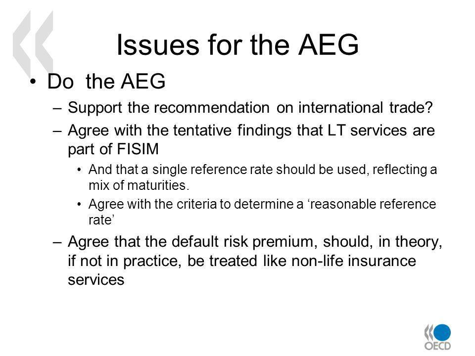 Issues for the AEG Do the AEG –Support the recommendation on international trade.
