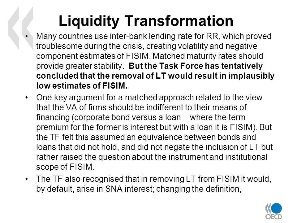 Liquidity Transformation Many countries use inter-bank lending rate for RR, which proved troublesome during the crisis, creating volatility and negative component estimates of FISIM.