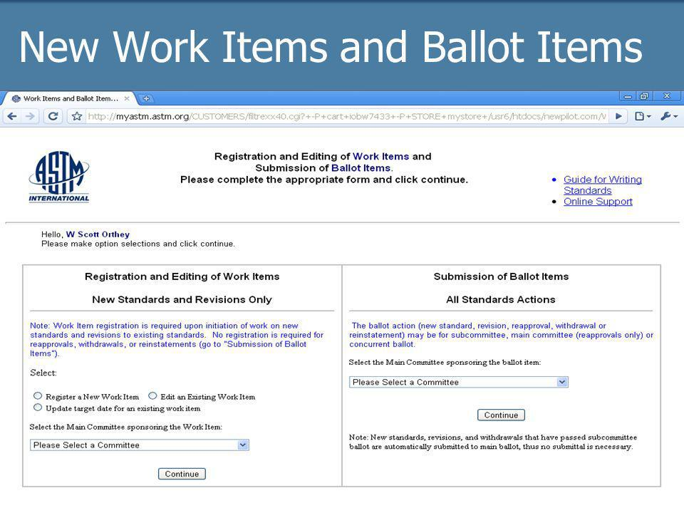 2009 Officer trainingASTM Online17 New Work Items and Ballot Items