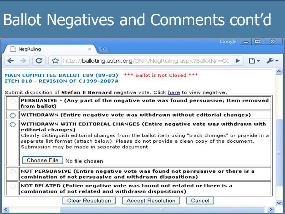 2009 Officer trainingASTM Online21 Ballot Negatives and Comments contd