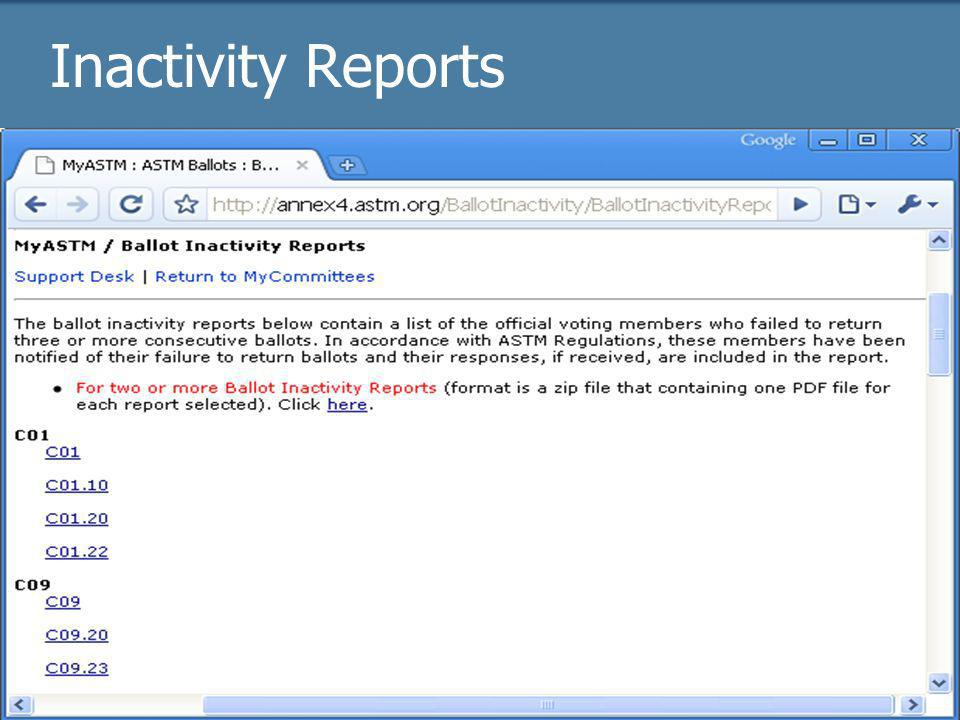 2009 Officer trainingASTM Online22 Inactivity Reports