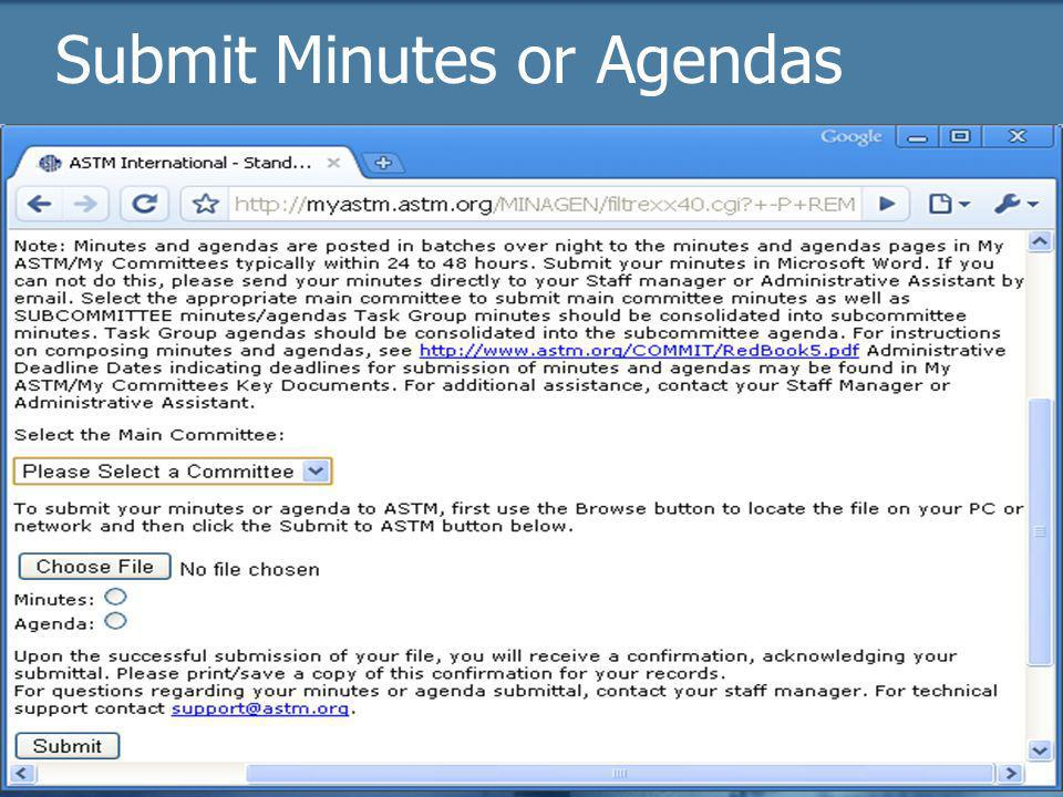 2009 Officer trainingASTM Online25 Submit Minutes or Agendas