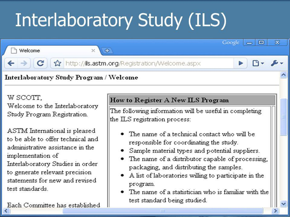 2009 Officer trainingASTM Online30 Interlaboratory Study (ILS)