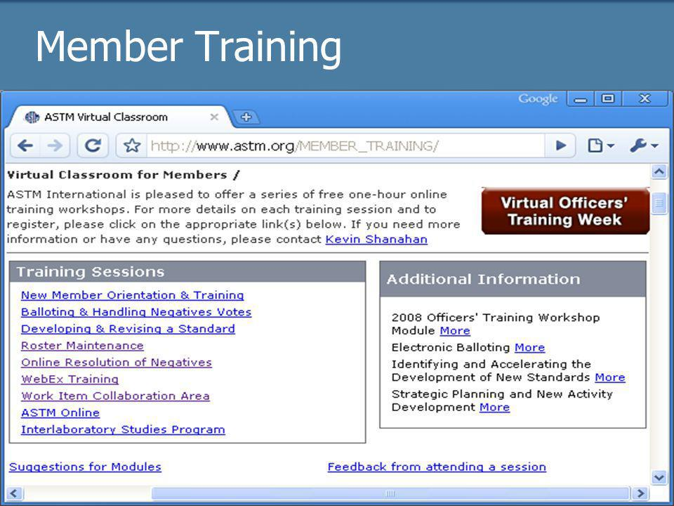 2009 Officer trainingASTM Online31 Member Training