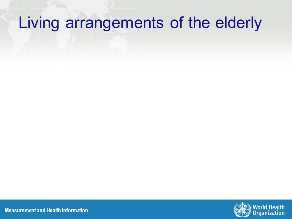 Measurement and Health Information Living arrangements of the elderly