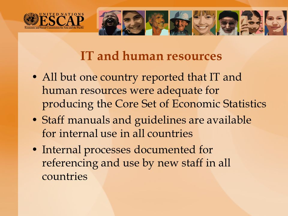 IT and human resources All but one country reported that IT and human resources were adequate for producing the Core Set of Economic Statistics Staff