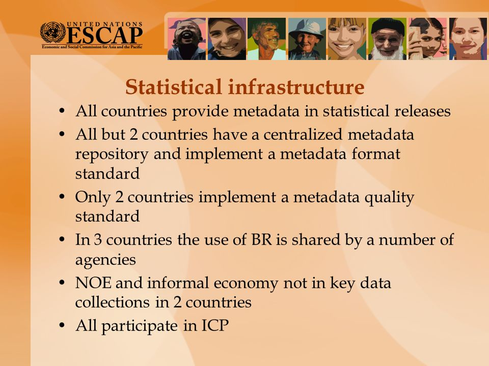 Statistical infrastructure All countries provide metadata in statistical releases All but 2 countries have a centralized metadata repository and imple