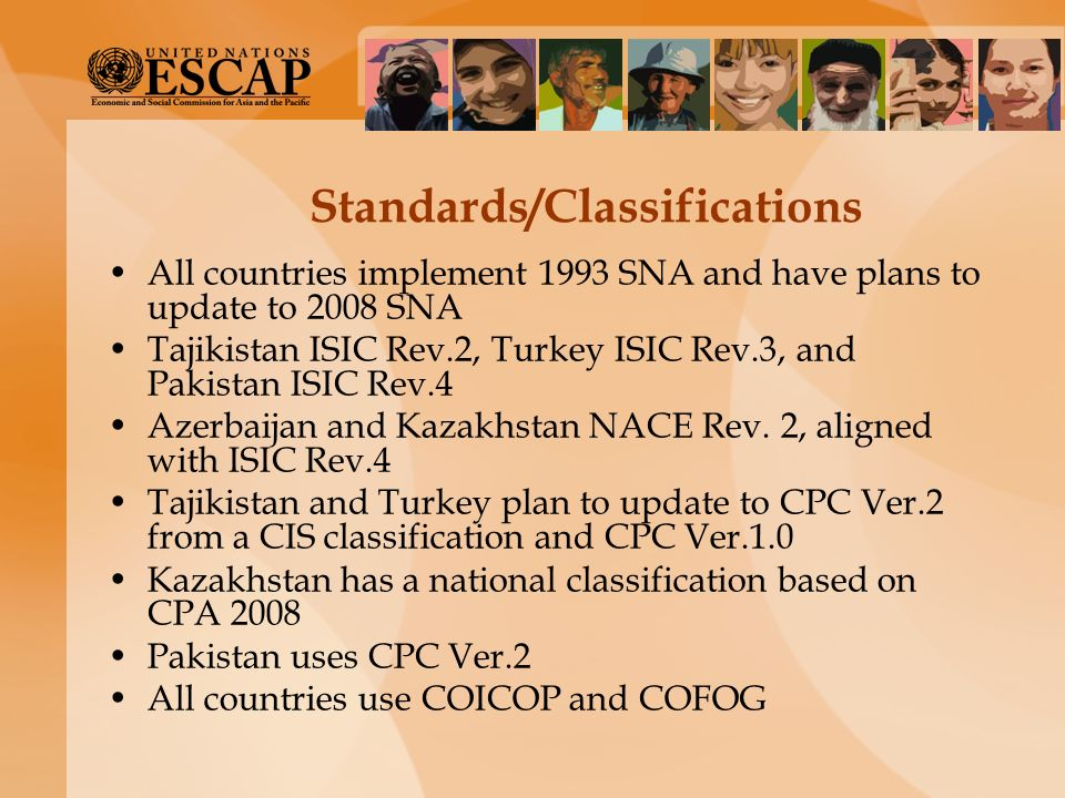 Standards/Classifications All countries implement 1993 SNA and have plans to update to 2008 SNA Tajikistan ISIC Rev.2, Turkey ISIC Rev.3, and Pakistan