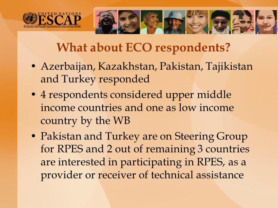 What about ECO respondents? Azerbaijan, Kazakhstan, Pakistan, Tajikistan and Turkey responded 4 respondents considered upper middle income countries a