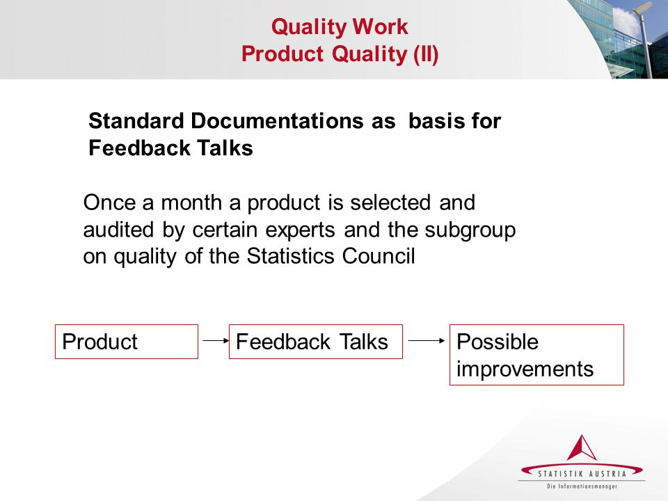Quality Work Product Quality (II) Standard Documentations as basis for Feedback Talks Once a month a product is selected and audited by certain expert
