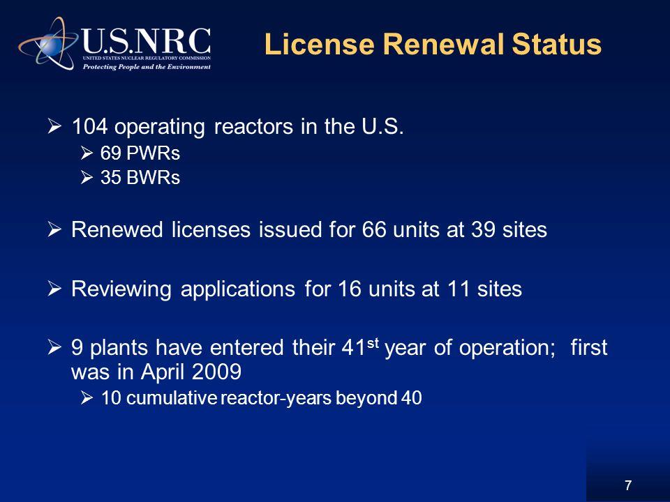 License Renewal Status 104 operating reactors in the U.S.