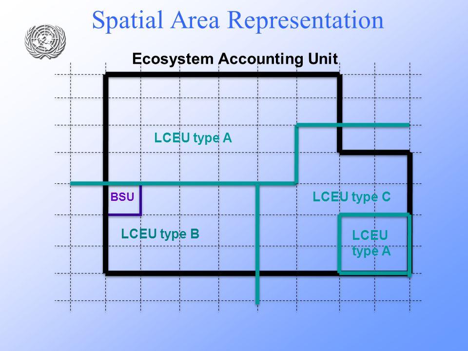 Spatial Area Representation Ecosystem Accounting Unit BSU LCEU type B LCEU type C LCEU type A