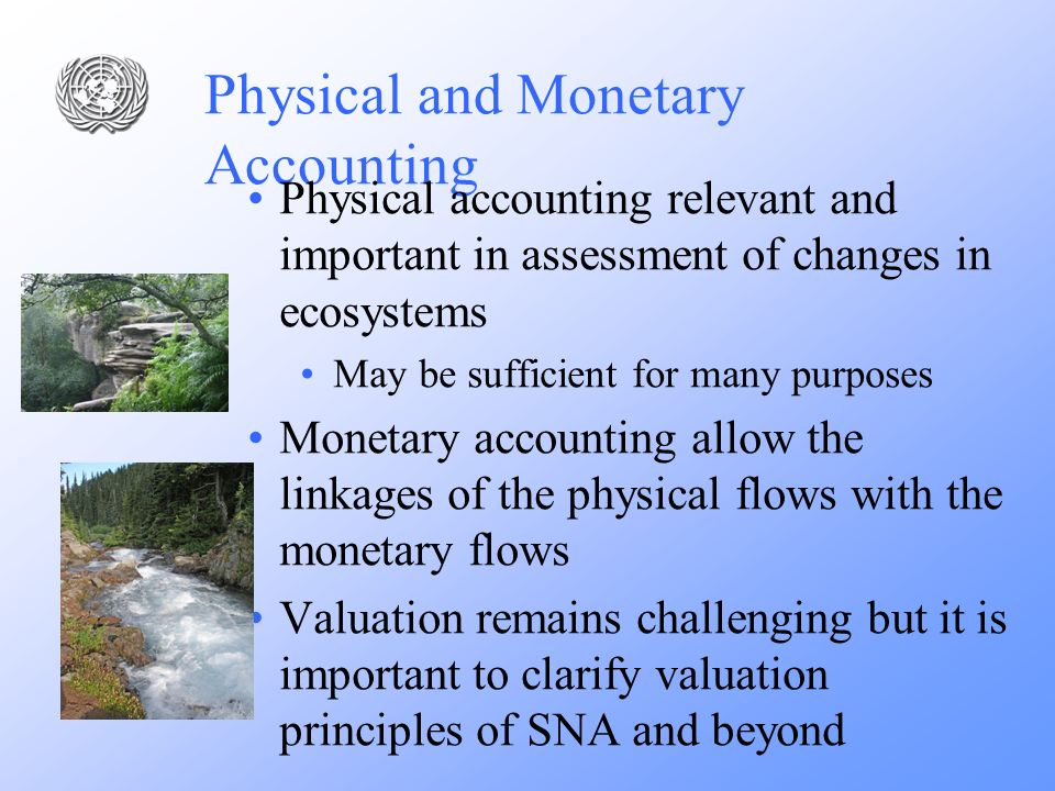 Physical and Monetary Accounting Physical accounting relevant and important in assessment of changes in ecosystems May be sufficient for many purposes