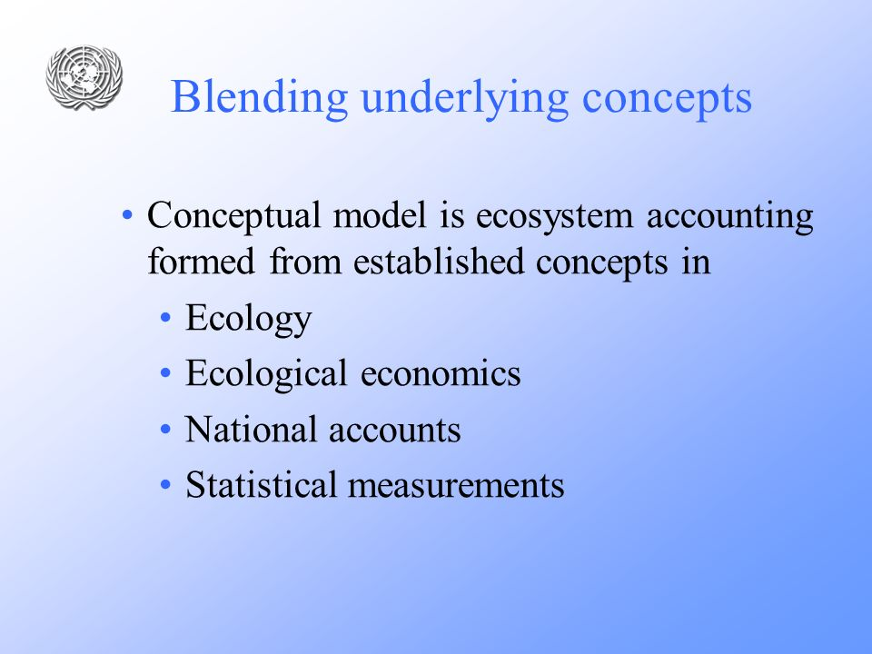 Blending underlying concepts Conceptual model is ecosystem accounting formed from established concepts in Ecology Ecological economics National accoun