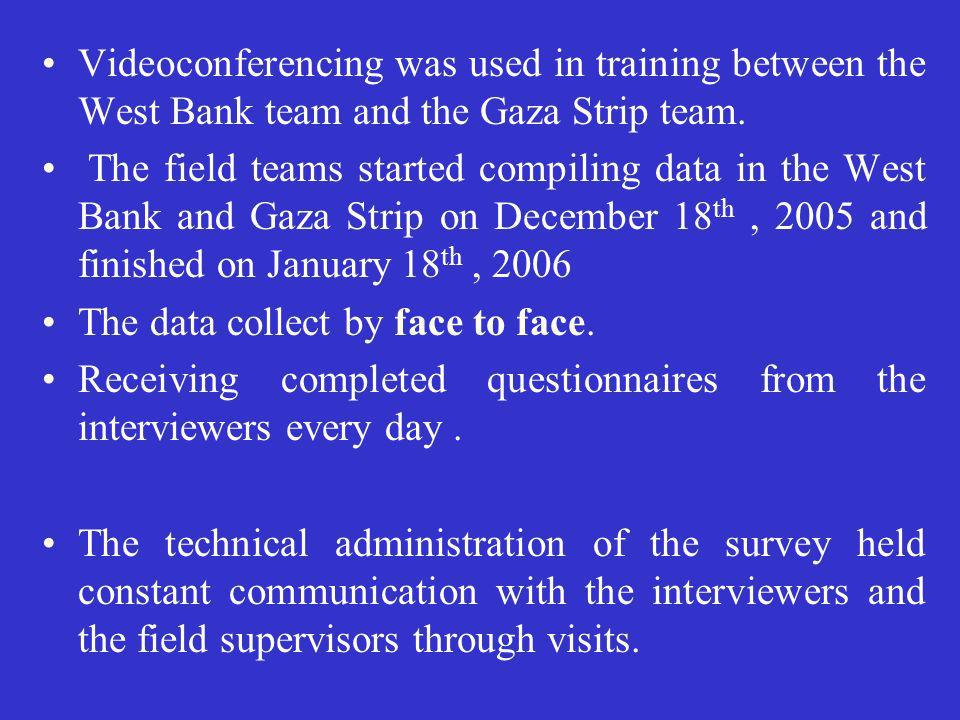 Videoconferencing was used in training between the West Bank team and the Gaza Strip team.