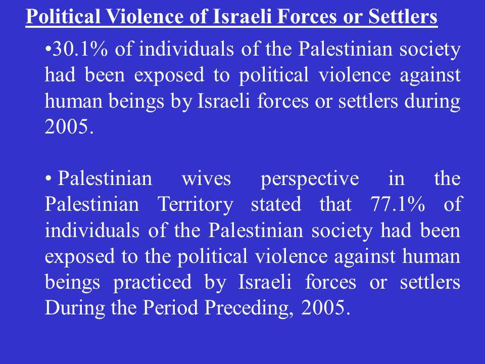 Political Violence of Israeli Forces or Settlers 30.1% of individuals of the Palestinian society had been exposed to political violence against human beings by Israeli forces or settlers during 2005.