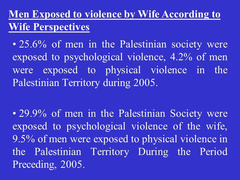 25.6% of men in the Palestinian society were exposed to psychological violence, 4.2% of men were exposed to physical violence in the Palestinian Terri