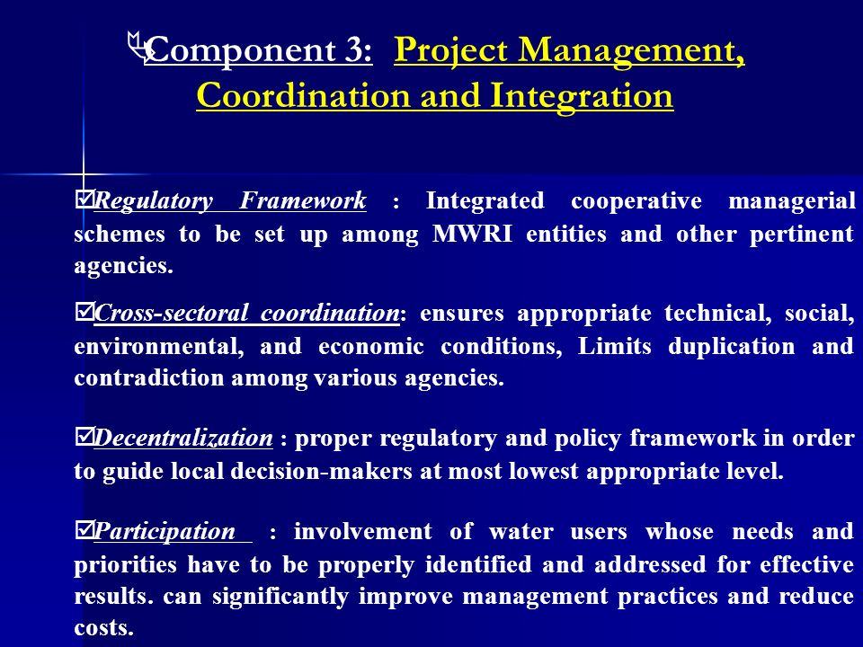 Component 3: Project Management, Coordination and Integration Cross-sectoral coordination : ensures appropriate technical, social, environmental, and