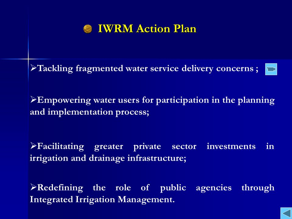 Current Setting of MWRI Institutions (Fragmentized) BCs/Meskas Several BCs Main canal Nile F / WUs Regions Farmers / Water Users General Directorates Districts Inspectorates Central Directorates Other Min.