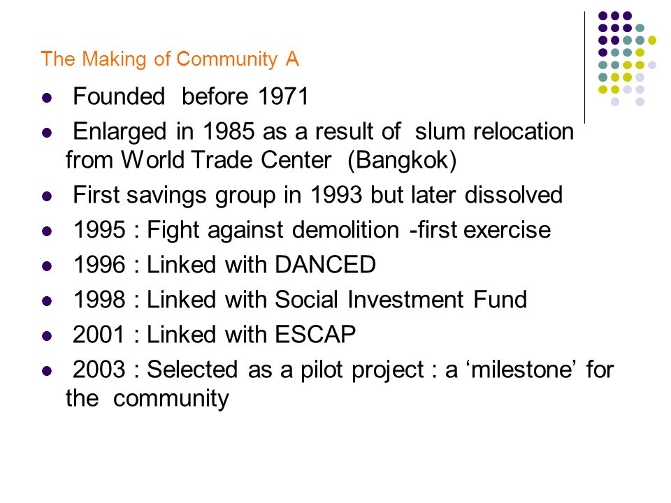 The Making of Community A Founded before 1971 Enlarged in 1985 as a result of slum relocation from World Trade Center (Bangkok) First savings group in 1993 but later dissolved 1995 : Fight against demolition -first exercise 1996 : Linked with DANCED 1998 : Linked with Social Investment Fund 2001 : Linked with ESCAP 2003 : Selected as a pilot project : a milestone for the community