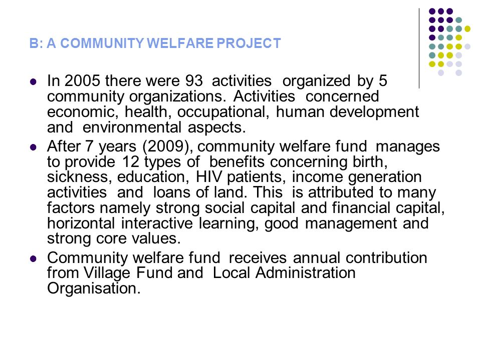 B: A COMMUNITY WELFARE PROJECT In 2005 there were 93 activities organized by 5 community organizations.