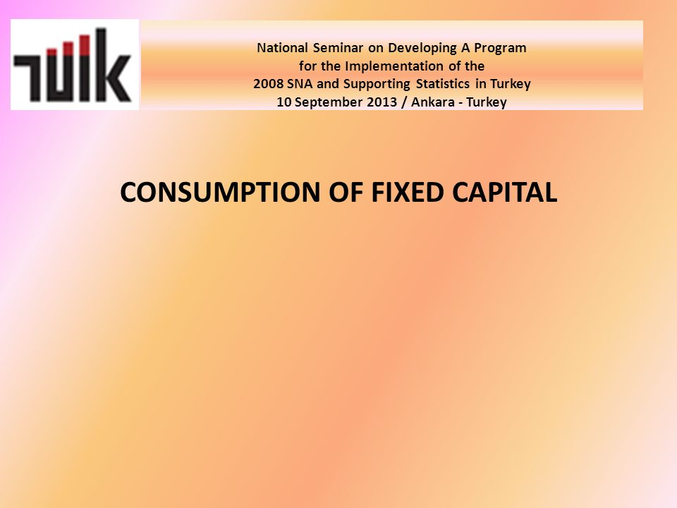 National Seminar on Developing A Program for the Implementation of the 2008 SNA and Supporting Statistics in Turkey 10 September 2013 / Ankara - Turkey CONSUMPTION OF FIXED CAPITAL
