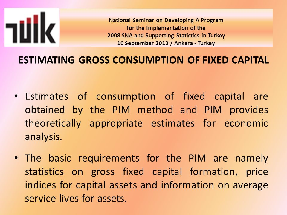 National Seminar on Developing A Program for the Implementation of the 2008 SNA and Supporting Statistics in Turkey 10 September 2013 / Ankara - Turkey Estimates of consumption of fixed capital are obtained by the PIM method and PIM provides theoretically appropriate estimates for economic analysis.