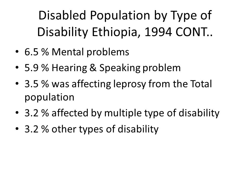 Disabled Population by Type of Disability Ethiopia, 1994 CONT..