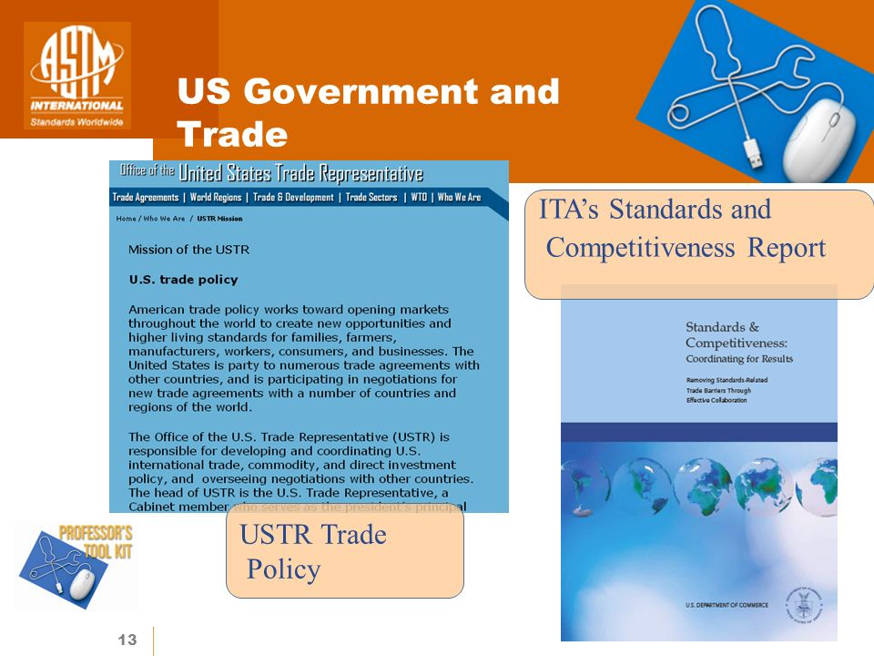 13 US Government and Trade USTR Trade Policy ITAs Standards and Competitiveness Report