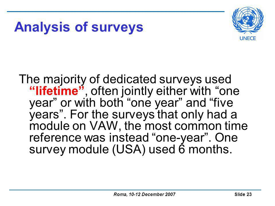 Roma, 10-12 December 2007 Slide 23 Analysis of surveys The majority of dedicated surveys used lifetime, often jointly either with one year or with both one year and five years.