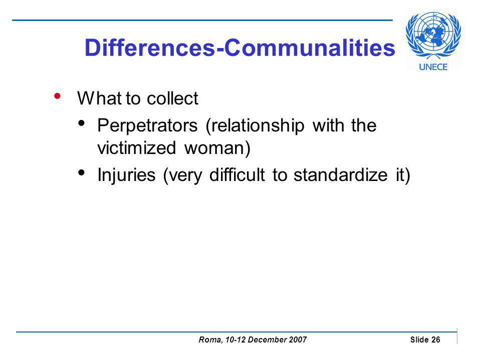 Roma, 10-12 December 2007 Slide 26 What to collect Perpetrators (relationship with the victimized woman) Injuries (very difficult to standardize it) Differences-Communalities
