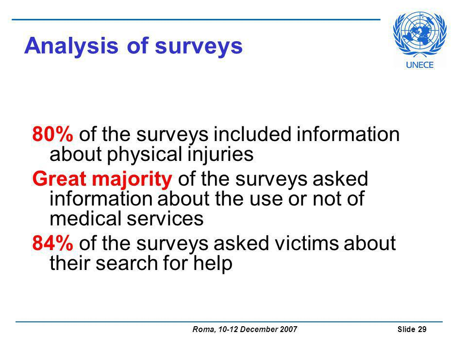 Roma, 10-12 December 2007 Slide 29 Analysis of surveys 80% of the surveys included information about physical injuries Great majority of the surveys asked information about the use or not of medical services 84% of the surveys asked victims about their search for help