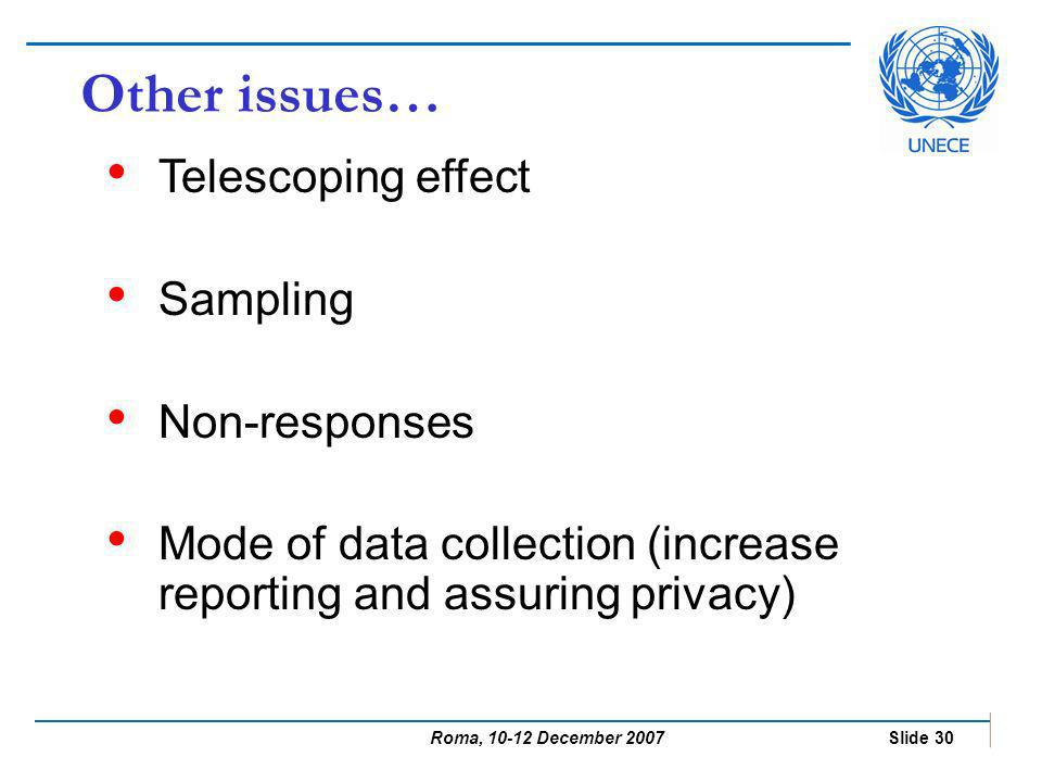 Roma, 10-12 December 2007 Slide 30 Other issues… Telescoping effect Sampling Non-responses Mode of data collection (increase reporting and assuring privacy)
