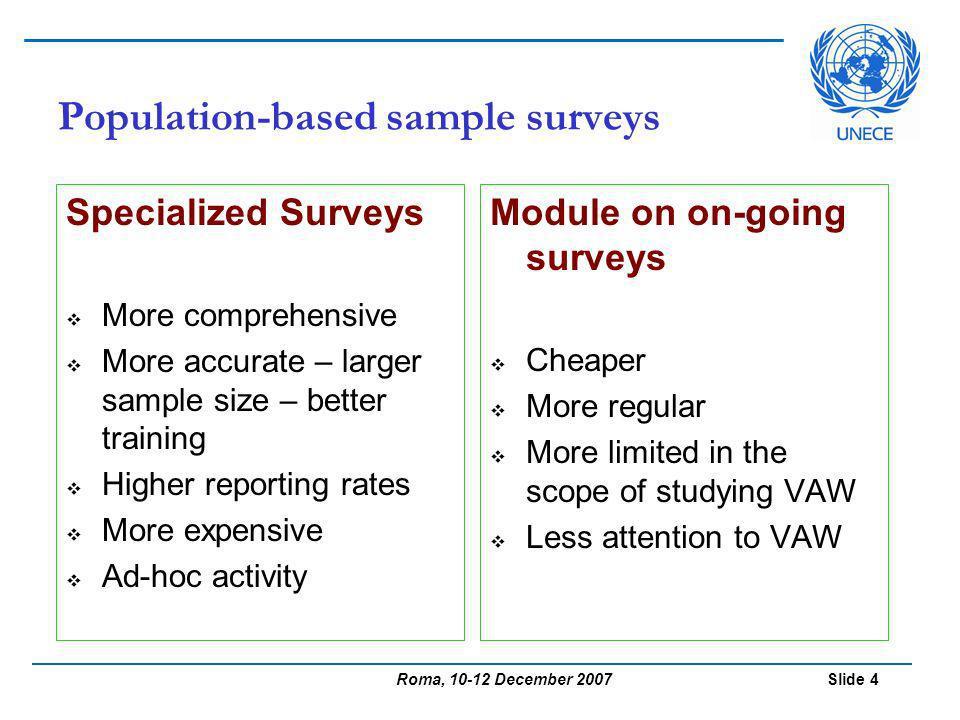 Roma, 10-12 December 2007 Slide 5 UNECE Survey of Surveys Analysis of 17 countries 25 surveys