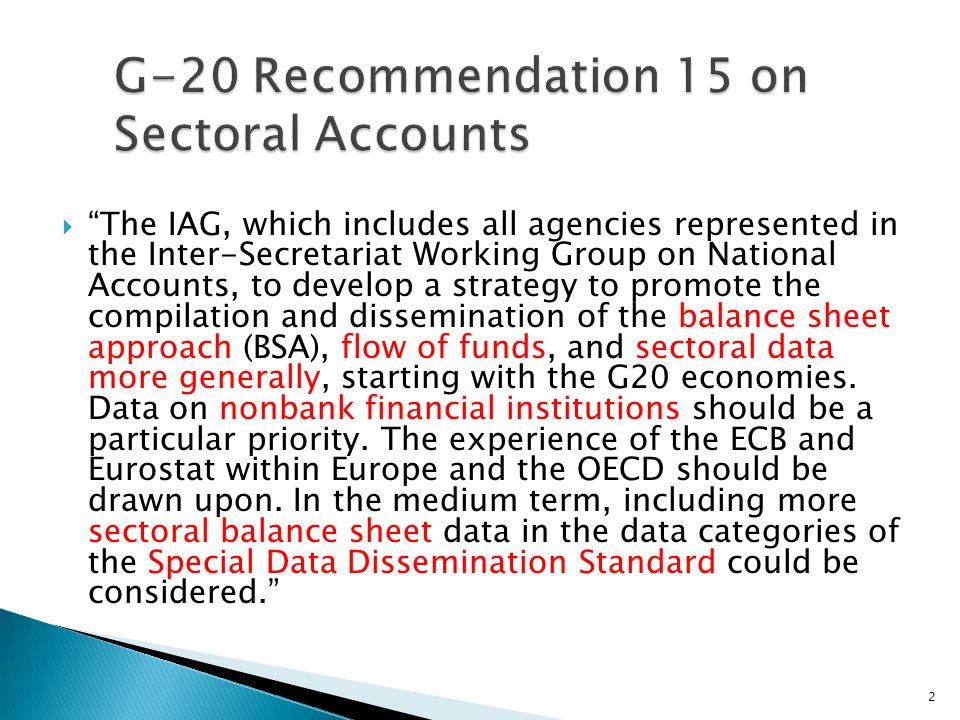 The IAG, which includes all agencies represented in the Inter-Secretariat Working Group on National Accounts, to develop a strategy to promote the compilation and dissemination of the balance sheet approach (BSA), flow of funds, and sectoral data more generally, starting with the G20 economies.
