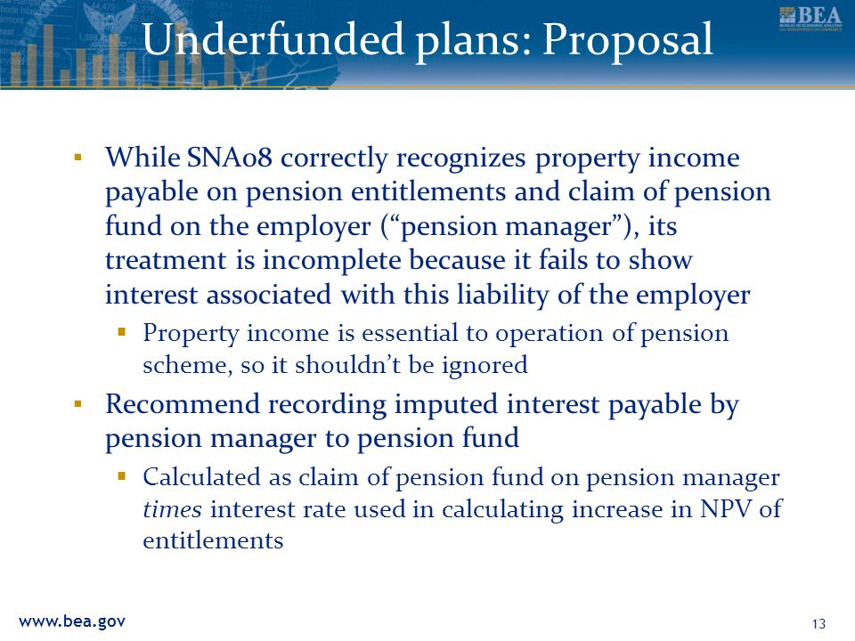 www.bea.gov Underfunded plans: Proposal While SNA08 correctly recognizes property income payable on pension entitlements and claim of pension fund on