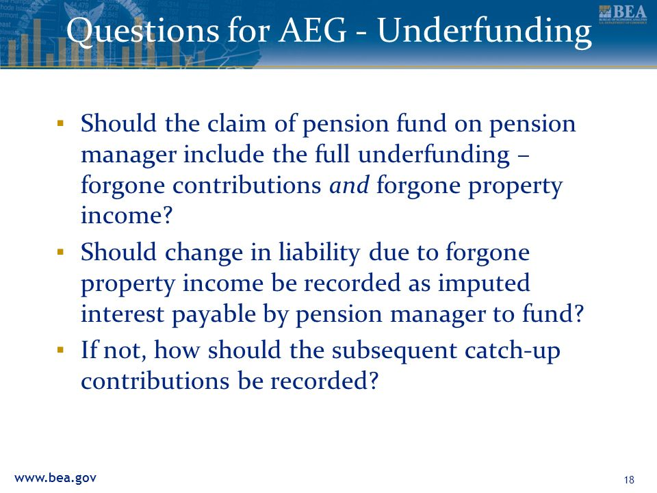www.bea.gov Questions for AEG - Underfunding Should the claim of pension fund on pension manager include the full underfunding – forgone contributions