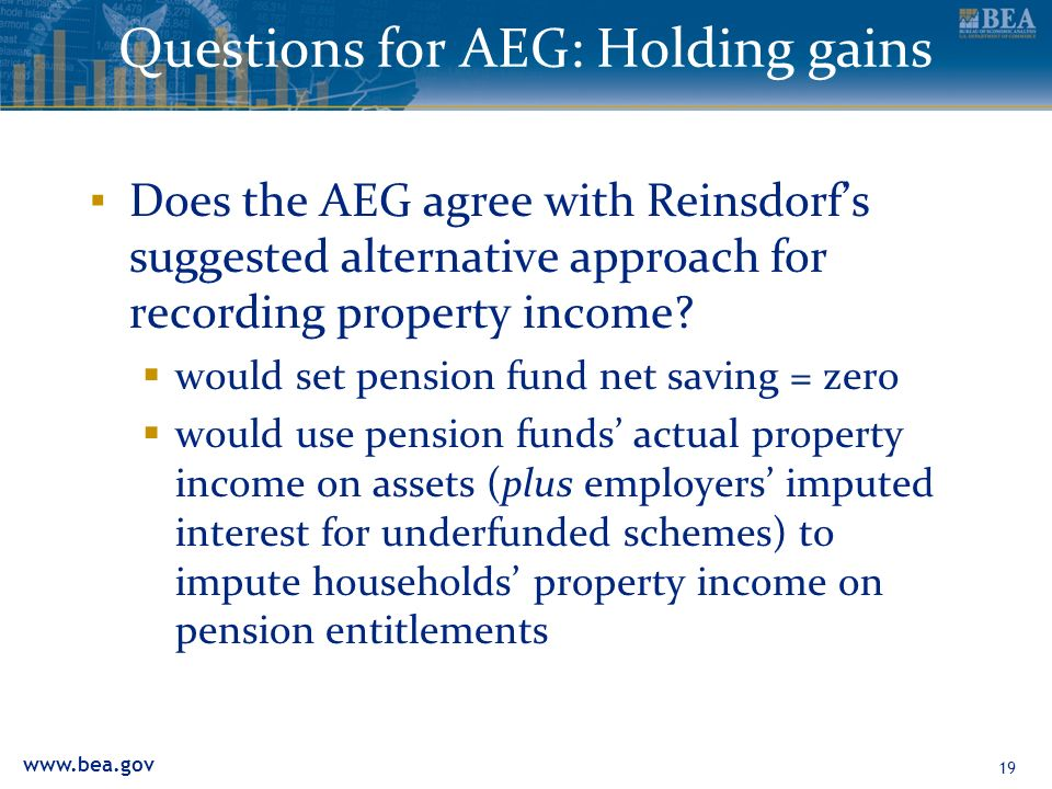 www.bea.gov Questions for AEG: Holding gains Does the AEG agree with Reinsdorfs suggested alternative approach for recording property income? would se