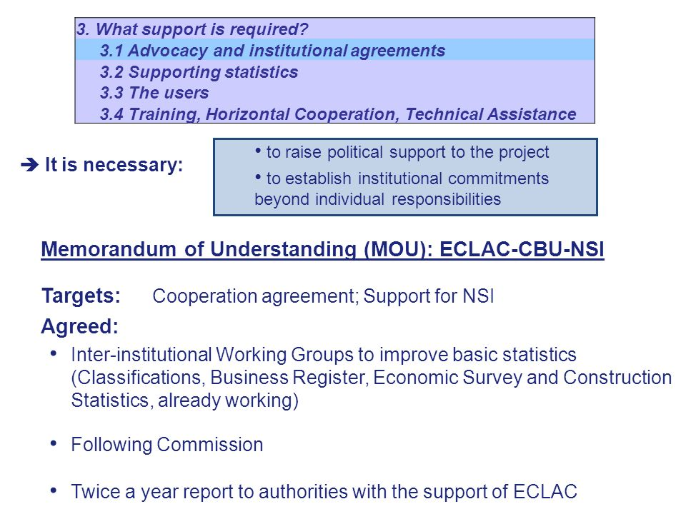 It is necessary: Memorandum of Understanding (MOU): ECLAC-CBU-NSI Targets: Cooperation agreement; Support for NSI Agreed: Inter-institutional Working Groups to improve basic statistics (Classifications, Business Register, Economic Survey and Construction Statistics, already working) Following Commission Twice a year report to authorities with the support of ECLAC 3.