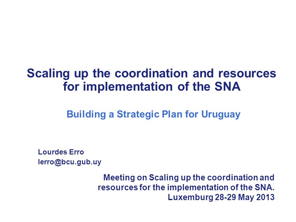 Scaling up the coordination and resources for implementation of the SNA Building a Strategic Plan for Uruguay Lourdes Erro lerro@bcu.gub.uy Meeting on Scaling up the coordination and resources for the implementation of the SNA.
