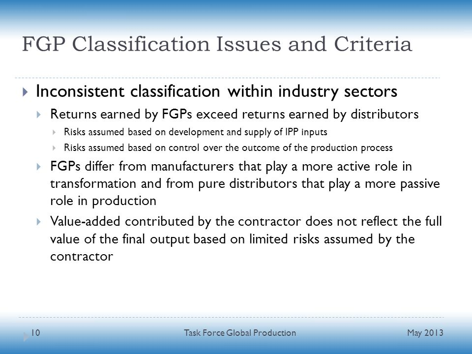 FGP Classification Issues and Criteria Inconsistent classification within industry sectors Returns earned by FGPs exceed returns earned by distributor
