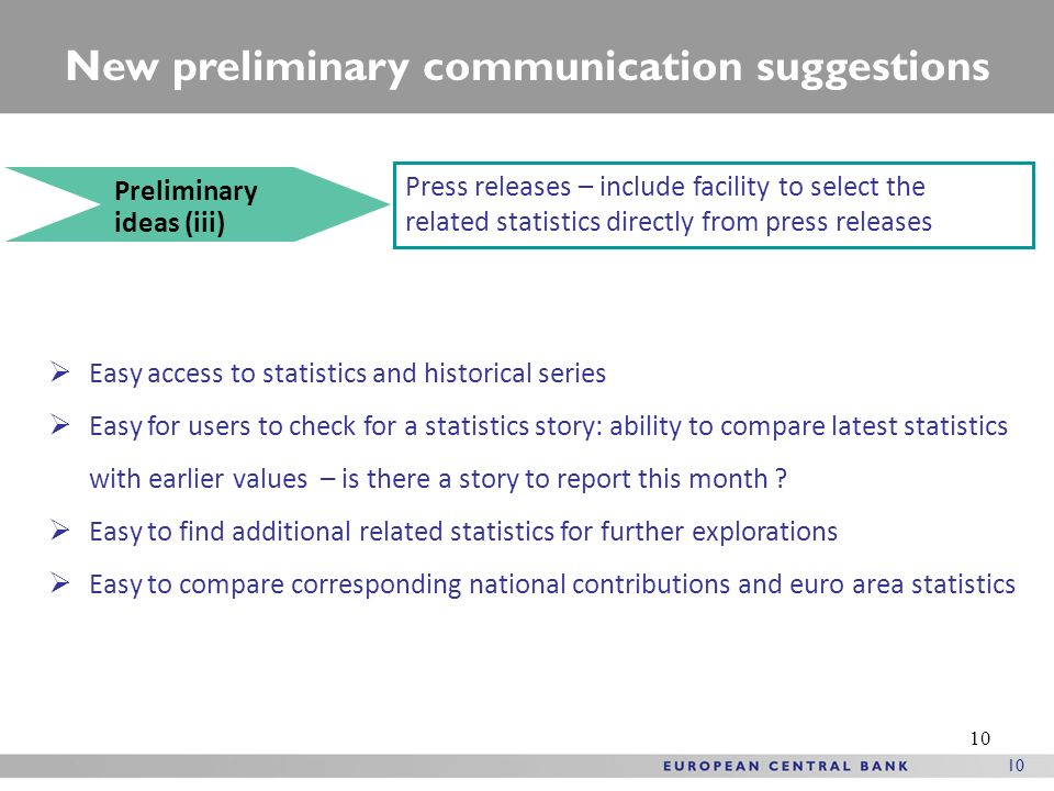 10 New preliminary communication suggestions Preliminary ideas (iii) Press releases – include facility to select the related statistics directly from press releases Easy access to statistics and historical series Easy for users to check for a statistics story: ability to compare latest statistics with earlier values – is there a story to report this month .