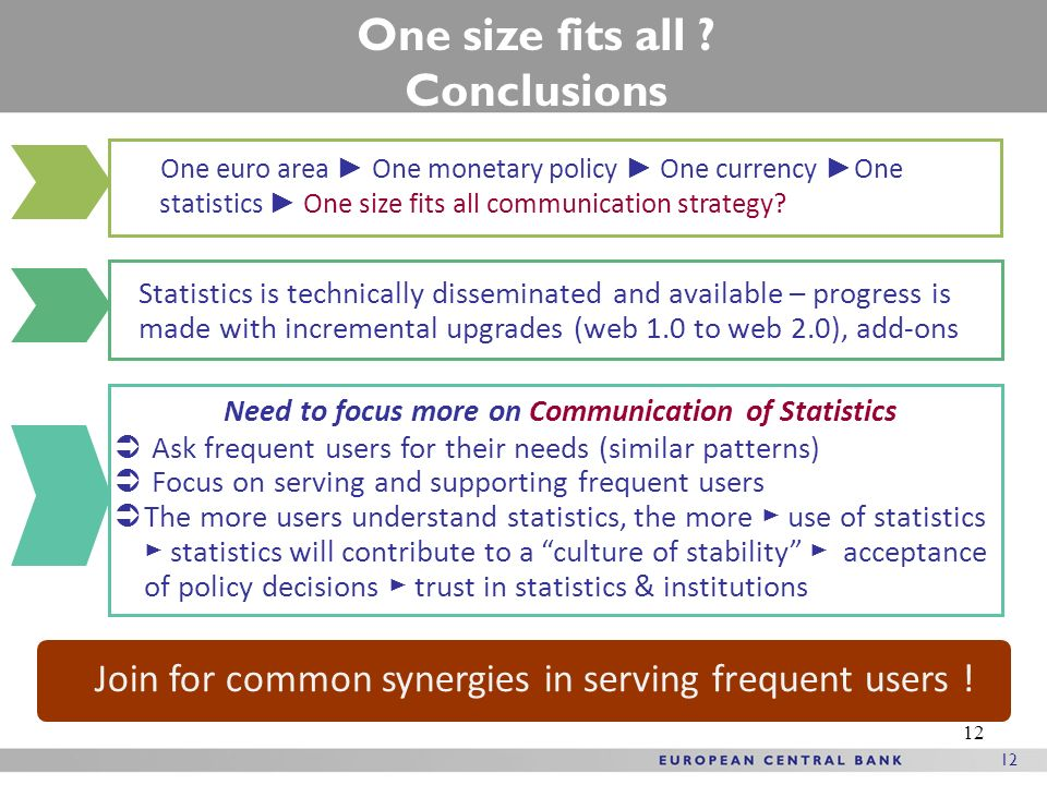12 One size fits all ? Conclusions Need to focus more on Communication of Statistics Ask frequent users for their needs (similar patterns) Focus on se