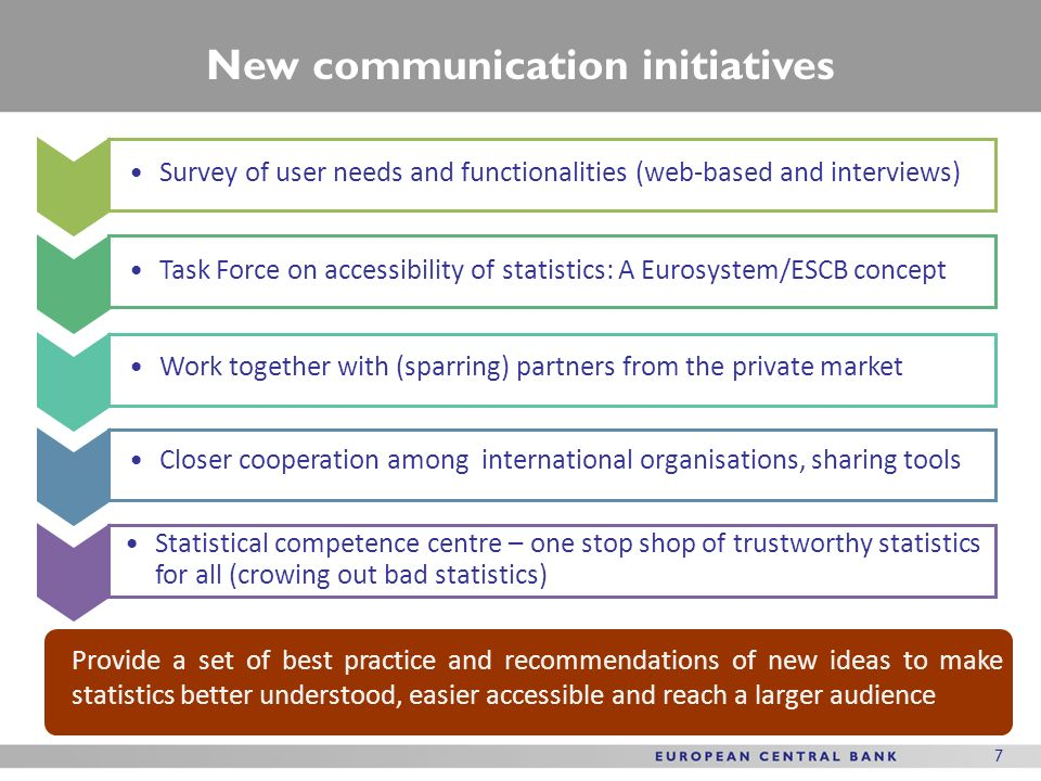 7 7 New communication initiatives Survey of user needs and functionalities (web-based and interviews) Work together with (sparring) partners from the private market Closer cooperation among international organisations, sharing tools Provide a set of best practice and recommendations of new ideas to make statistics better understood, easier accessible and reach a larger audience Task Force on accessibility of statistics: A Eurosystem/ESCB concept Statistical competence centre – one stop shop of trustworthy statistics for all (crowing out bad statistics)