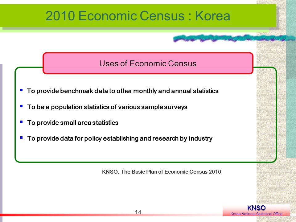 Economic Census : Korea KNSO Korea National Statistical Office KNSO, The Basic Plan of Economic Census 2010 To provide benchmark data to other monthly and annual statistics To be a population statistics of various sample surveys To provide small area statistics To provide data for policy establishing and research by industry Uses of Economic Census