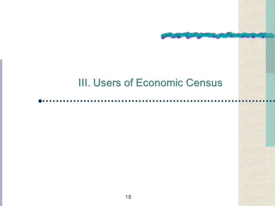 16 III. Users of Economic Census