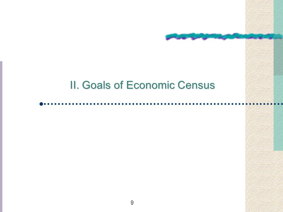 9 II. Goals of Economic Census